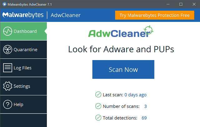 Noad Variance TV ads using AdwCleaner