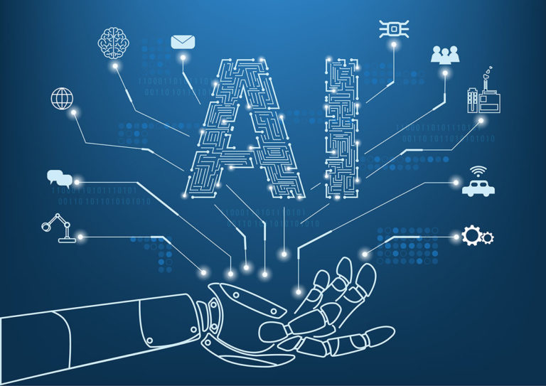 Artificial intelligence concept with line icon and hand of robot
