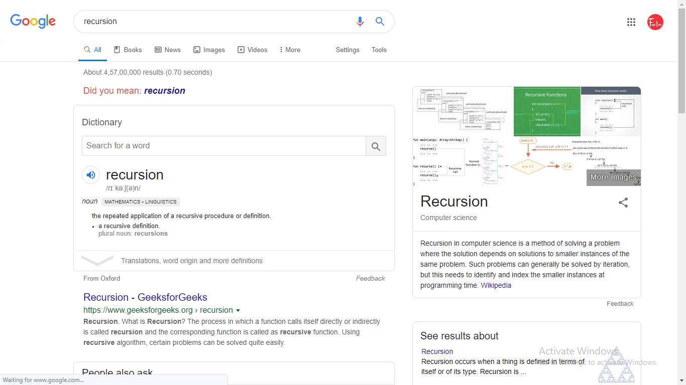 Recursion google trick
