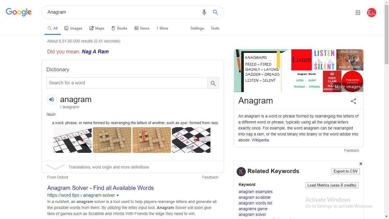 anagram google trick