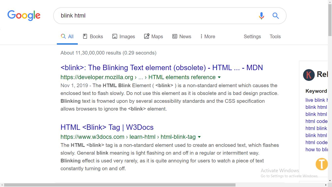 blink html google trick