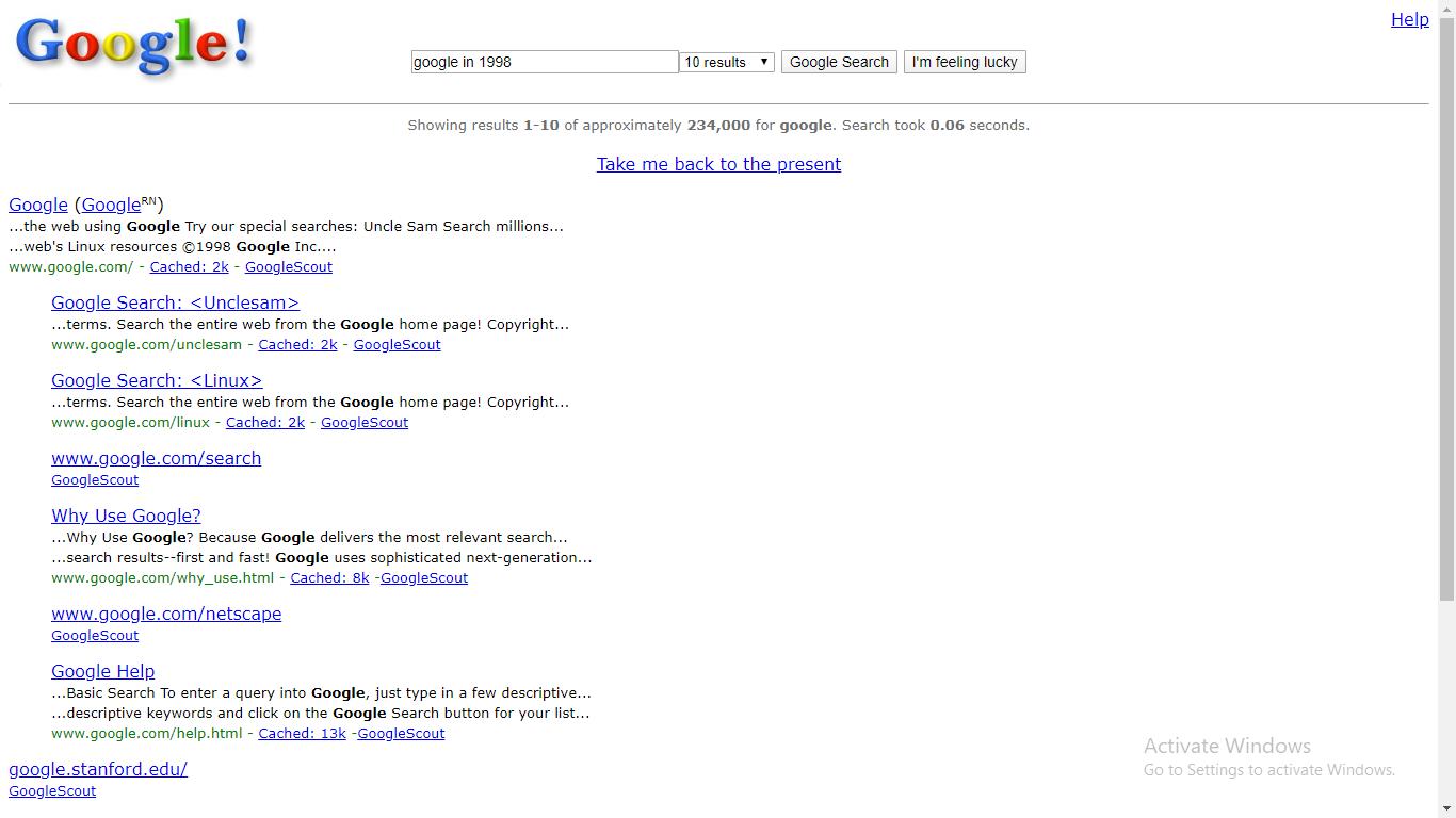 google in 1998 google trick