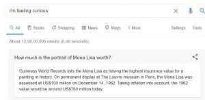 im feeling curious - Google Fun Fact - how much is the portrait of mona lisa worth