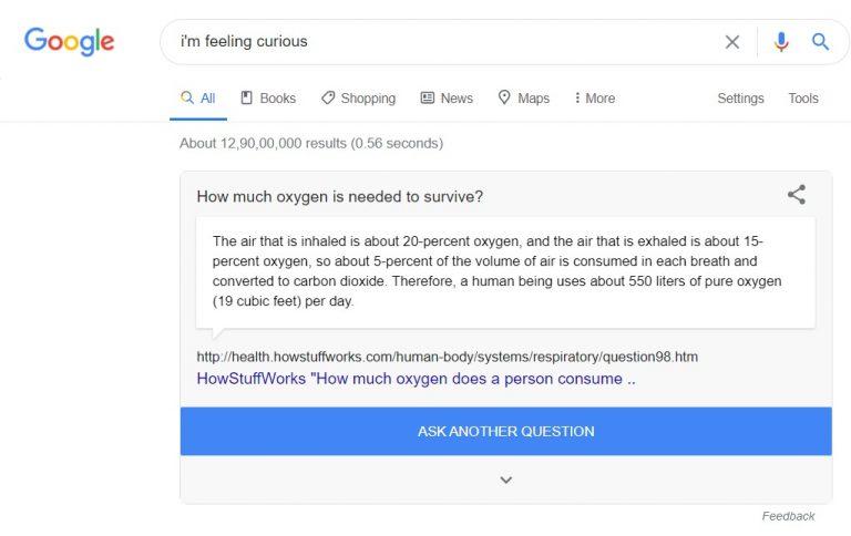 i'm feeling curious trick - Google Fun Fact - google trick